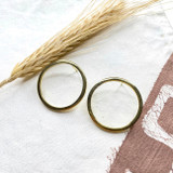 Hand-Hammered Earrings | Large Wire Circle Stud | Gold Brass | Hand Hammered in Kenya