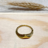 Hand-Hammered Ring | Triangle Inlay | Gold Brass | Hand Hammered in Kenya
