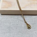 Hand-Hammered Necklace | Droplet | Gold Brass | Hand Hammered in Kenya