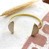 Hand-Hammered Bracelets | Flat Half-Circle White Onyx | Gold Brass | Hand Hammered in Kenya