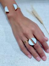 Half Circle White Onyx Set   Hammered Brass   Handmade in Kenya