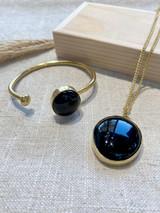 Small Round Black Onyx Set   Hammered Brass   Made in Kenya