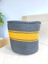 Kiondo Basket - Black With 3 Mustard Stripes | - 10"