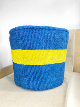 "Kiondo Basket - Blue With Yellow Stripe | 14"" - Shopper, Storage, Decor"