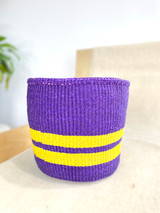 Kiondo Basket | Violet With Two Yellow Stripes | 8.5"