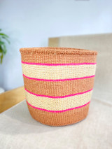 Kiondo Basket - Brown with White and Pink Stripes | 10"