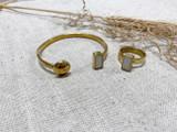 Flat Rectangle White Onyx Set | Hammered Brass | Made in Kenya