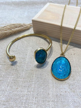 Aqua Stone Set | Hammered Brass | Made in Kenya