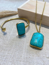Rectangle African Turquoise Set | Hammered Brass | Made in Kenya