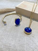 Round Blue Stone Set | Hammered Brass | Made in Kenya