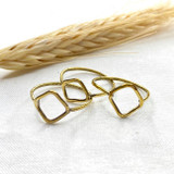 Hand-Hammered Ring | Thin Stackable Shapes | Gold Brass | Hand Hammered in Kenya
