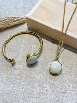Round White Stone Set | Hammered Brass | Made in Kenya