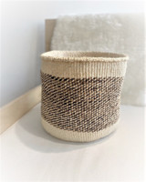 Kiondo Basket -  White with Banana Stem Design | 10"