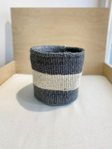 Kiondo Basket | Grey with Large White Stripe | 8"