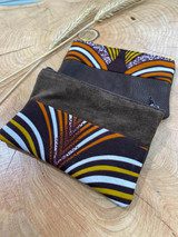 "Coin Purse | Dark Brown with Stripes - White, Orange, Yellow | Leather | 3""x 5"" 