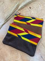 "Coin Purse   Multicolour Geometric Chevron   Leather   3""x 5""   Handmade in Kenya"