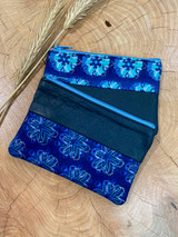 "Coin Purse | Blue Flowers | Leather | 3""x 5"" 