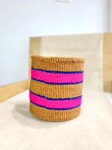 Kiondo Basket - Natural With Two Pink Stripes (Blue Accent) | 8"