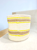 Kiondo Basket - White with Natural Stripes - Yellow Accent | 10"