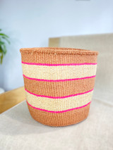 Kiondo Basket -  Natural Brown with White Stripes (Pink Accent) | 10"