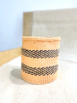 Kiondo Basket - Natural with Two Black Dashed Stripes | 8"