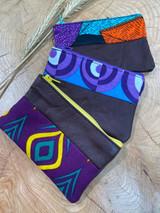 "Coin Purse | Purple Patterns | Leather | 3""x 5"" | Handmade in Kenya"