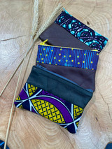 "Coin Purse | Blue & Purple Patterns | Leather | 3""x 5"" 