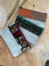 "Coin Purse | Orange, Green, Maroon Patterns | Leather | 3""x 5"" 
