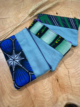 "Coin Purse | Blue & Green Patterns | Leather | 3""x5""