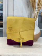 Genuine Leather Satchel/Messenger Bag | Yellow & Purple | Unisex | Handmade in Kenya