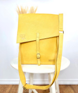 Genuine Leather Satchel/Messenger Bag | Yellow | Unisex | Handmade in Kenya
