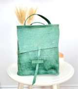 Leather Backpack Mini -  Textured Green | Genuine Leather | Women's | Handmade in Kenya