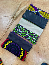 "Coin Purse | Green & Purple Patterns | Leather | 3""x 5"" 