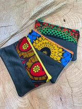 "Coin Purse | Colourful Circle Patterns | Leather | 3""x 5"" 