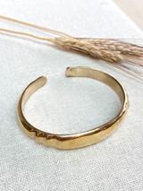 Hand-Hammered Bracelet | Round Open Scalloped Bangle | Gold Brass | Hand Hammered in Kenya