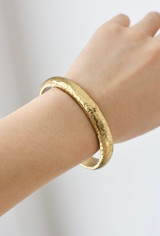 Hand-Hammered Bracelet | Rounded Rough Open Bangle | Gold Brass | Hand Hammered in Kenya