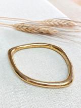Hand-Hammered Bracelet | Oblong Smooth Closed Bangle | Gold Brass | Hand Hammered in Kenya