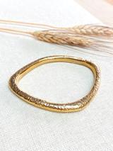 Hand-Hammered Bracelet | Oblong Rough Closed Bangle | Gold Brass | Hand Hammered in Kenya