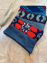 "Coin Purse |  Red & Navy Patterns | Leather | 3""x 5"" 