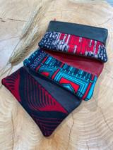 "Coin Purse | Red Dark Patterns | Leather | 3""x 5"" | Handmade in Kenya"