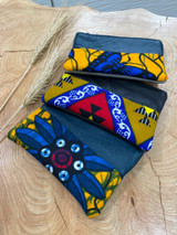 "Coin Purse | Blue & Mustard Patterns | Leather | 3""x 5"" 