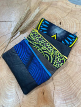 "Coin Purse | Blue and Yellow Patterns | Leather | 3""x 5"" 