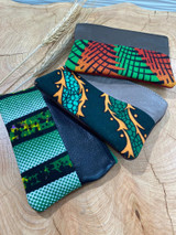 "Coin Purse | Green Dragon Patterns | Leather | 3""x 5"" 