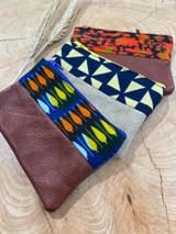 "Coin Purse | Orange, Yellow, Blue Patterns | Leather | 3""x 5"" | Handmade in Kenya"