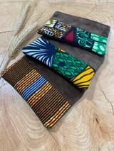 "Coin Purse | Orange & Green Stripe Patterns | Leather | 3""x 5"" | Handmade in Kenya"