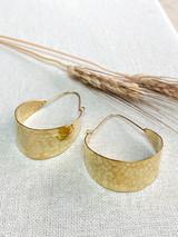 Hand-Hammered Earrings | Ragged Basket Hoop | Gold Brass | Hand Hammered in Kenya