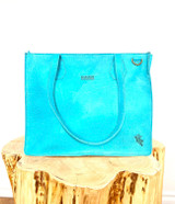 Genuine Leather Tote/Laptop Bag/Briefcase for Women | Textured Turquoise | Handmade in Kenya