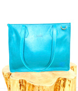 Genuine Leather Tote/Messenger/Briefcase for Women | Turquoise | 15x12 | Handmade in Kenya