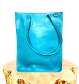 """Genuine Leather Satchel/Laptop Bag/Briefcase for Women   Smooth Turquoise   12""""x15""""   Handmade in Kenya"""