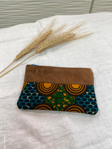"Coin Purse | Orange, Green, Blue Scales | Leather | 3""x 5"" 